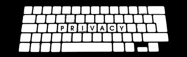 Privacy Keyboard Black & White Illustration