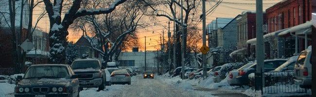 Snowy Canadian Street at Dusk