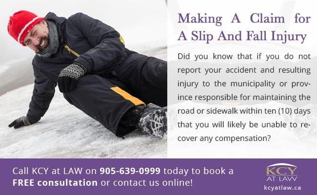Making a slip and fall claim Toronto - Personal Injury Lawyers Burlington