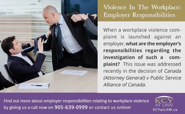 Violence In The Workplace - Employer Responsibilities - Employment Law Toronto