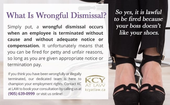 What Is Wrongful Dismissal - Employment Lawyer - KCY at LAW