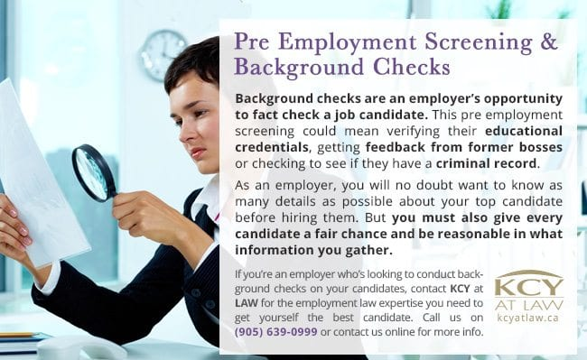 Pre Employment Screening and Background Checks Canada - KCY at LAW