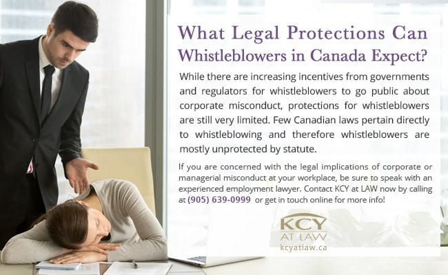Legal Protections for Whistle Blowers in Canada - KCY at LAW