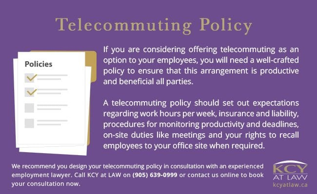 Telecommuting Employment Policy - Employment Lawyer Burlington KCY at LAW